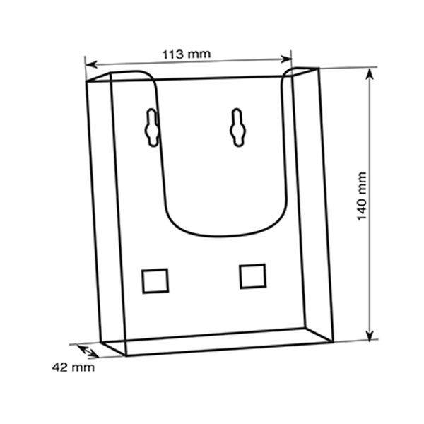 Crtez zidnog stalka za flajere sa jednim dzepom, format DL