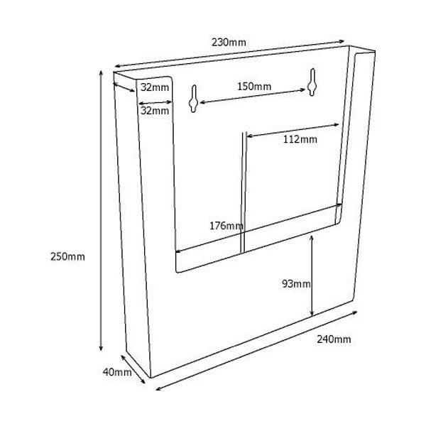 Crtez zidnog stalka za flajere – W230