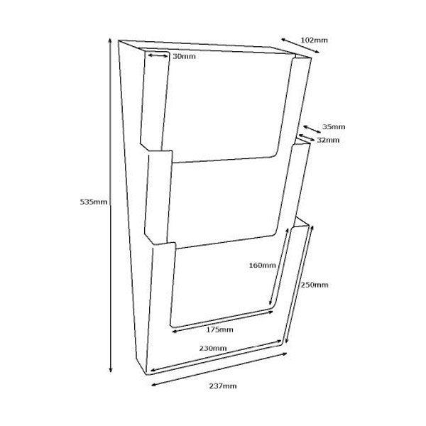 Crtez Taymar zidnog stalka za flajere na tri nivoa – 3W230