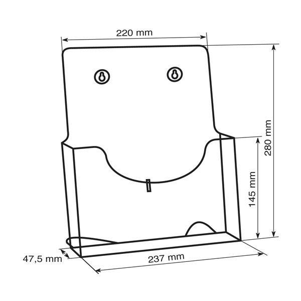 Crtez ekonomik stalak za flajere sa jednim dzepom, format A4