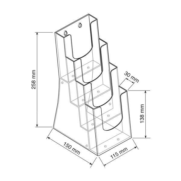 Crtez ekonomik stalka za flajere na cetiri nivoa, format DL