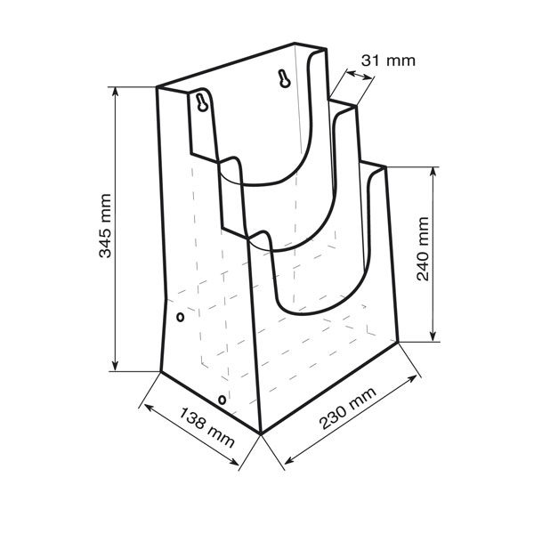 Crtez stalka za flajere na tri nivoa, format A4